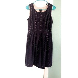 Navy Blue & Tan Eyelit Dress